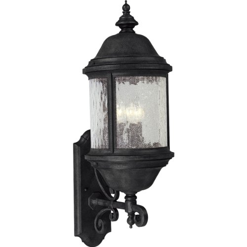 Progress Lighting P5653-31 Traditional Three Light Large Wall Lantern from Ashmore Collection Finish, 9-5/8-Inch Width x 28-Inch Height, Textured Black