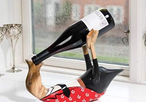 Wohnideen Kupke Flaschenhalter Handgefertigte Dänische Ente aus Naturholz (33cm x 24cm) im Ober-Outfit