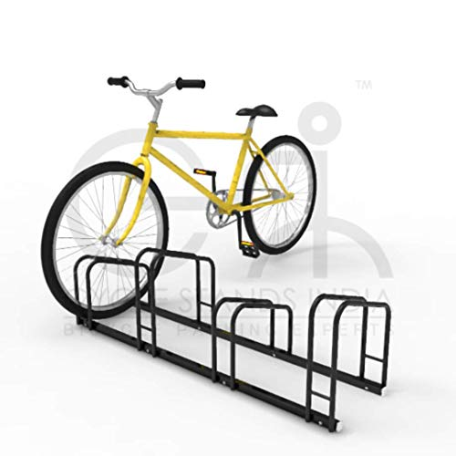Cycle Stands India Mild Steel Floor Mount Staggered Bicycle Parking Stand for 4 Bikes for Secure Storage and Space Saving in Garage and Congested Areas (Black)