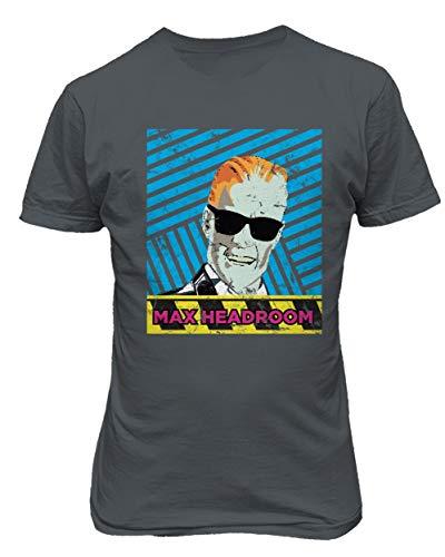 RIVEBELLA New Graphic Shirt 80's Novelty Tee Max Headroom Men's T-Shirt (Charcoal, M)