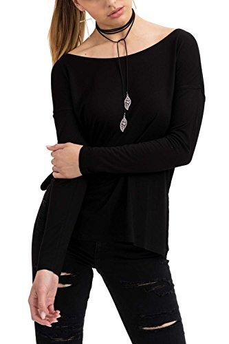 trueprodigy Casual Damen Marken Long Sleeve einfarbig Basic Oberteil Cool Stylisch Rundhals Langarm Slim Fit Langarmshirt für Frauen, Farben:Schwarz, Größe:L