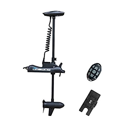 """AQUOS Black Haswing 12V 55LBS 48"""" Shaft Bow Mount Electric Trolling Motor Portable, Variable Speed with Quick Release Bracket for Bass Fishing Boat Freshwater and Saltwater Use,Energy Saving"""