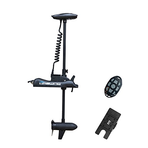 AQUOS Haswing 12V 55LBS Bow Mount Trolling Motor with Wireless Remote Control and Quick Release Bracket for Pontoon Boat Fishing (Black, 54)