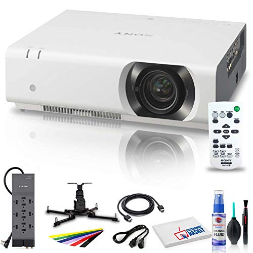 Sony VPL-CH375 5000 Lumen WUXGA 3LCD Projector (White) with Mount + Power Strip + HDMI Cable + Cleaning Set + Wire Ties and More - Bundle