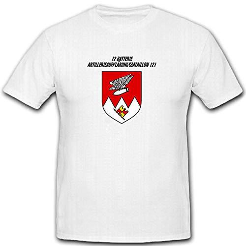 12 Batterie Artillerieaufklärungsbataillon 121 - Bundeswehr - T Shirt #11299, Größe:XL, Farbe:Weiß