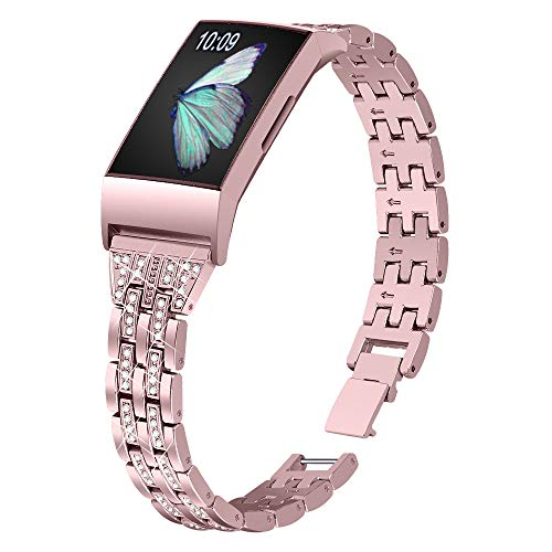 Joyozy Slim Bling Bands Compatible with Fitbit Charge 4/Fitbit Charge 3/Fitbit Charge 3 SE Smartwatch,Rhinestone Dressy Bracelet Replacement for Wristbands Jewelry Strap Women Girl(Rosegold)