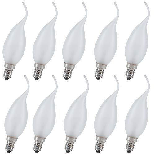 10x Lampadina' Vento' 40W E14 10er Set Lampadina Satinato Opaco, Colpo di Vento Lampadina Luce Decorativa, 2700K Bianco Caldo Extra