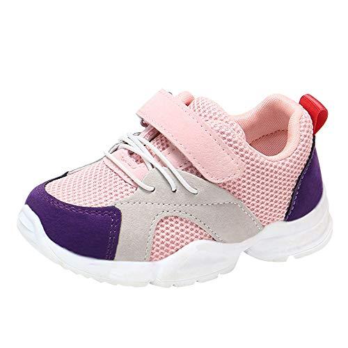 ZHANSANFM Unisex Baby Sneaker Patchwork Mesh Atmungsaktiv Kinder Schuhe Babyschuhe Ultraleicht Turnschuhe Mode Basic Casual Lauflernschuhe Outdoor Slip On Sportschuhe 20 EU Rosa