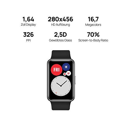HUAWEI Watch Fit Smartwatch (42mm AMOLED-Display, Herzfrequenzmessung, 5ATM wasserdicht, GPS) Graphite Black [Exklusiv + 5 EUR Amazon Gutschein] - 2