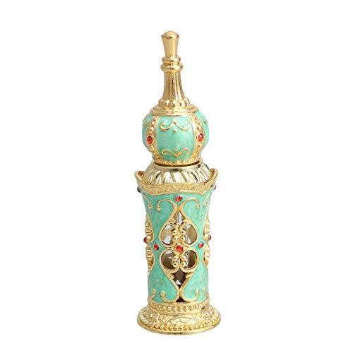 Healifty Bouteilles de parfum rechargeables vases de bouteille d'huile essentielle vides de style de style du Moyen-Orient Vintage 12ML (or et vert)