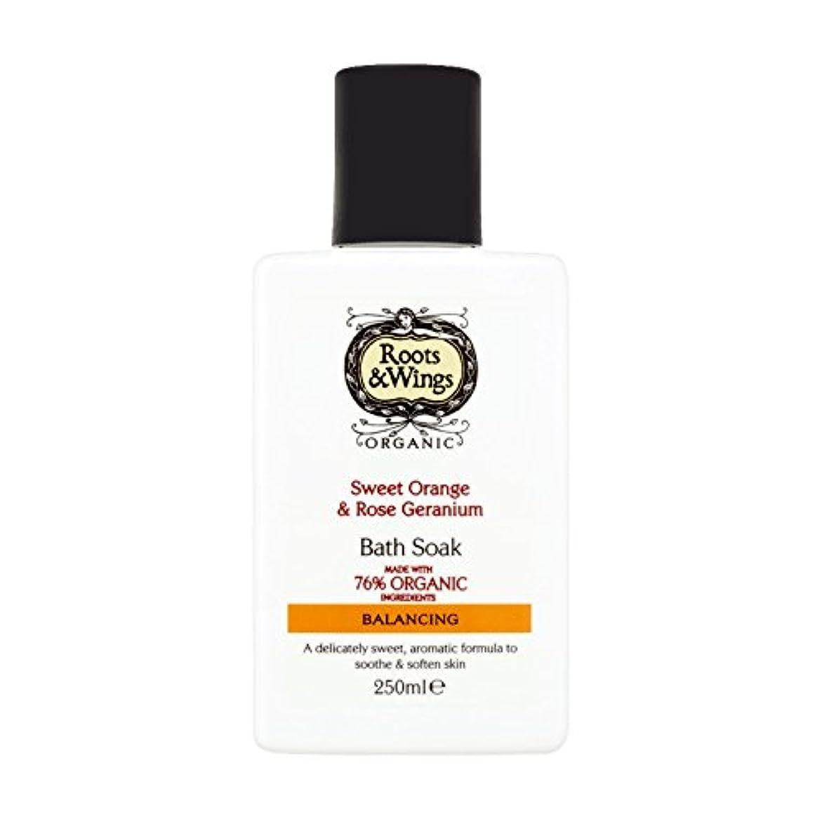 大腿リース鍔Roots & Wings Bath Soak Sweet Orange & Rose Geranium 250ml (Pack of 2) - ルーツ&翼バス甘いオレンジを浸し&ゼラニウム250ミリリットルをバラ (x2) [並行輸入品]