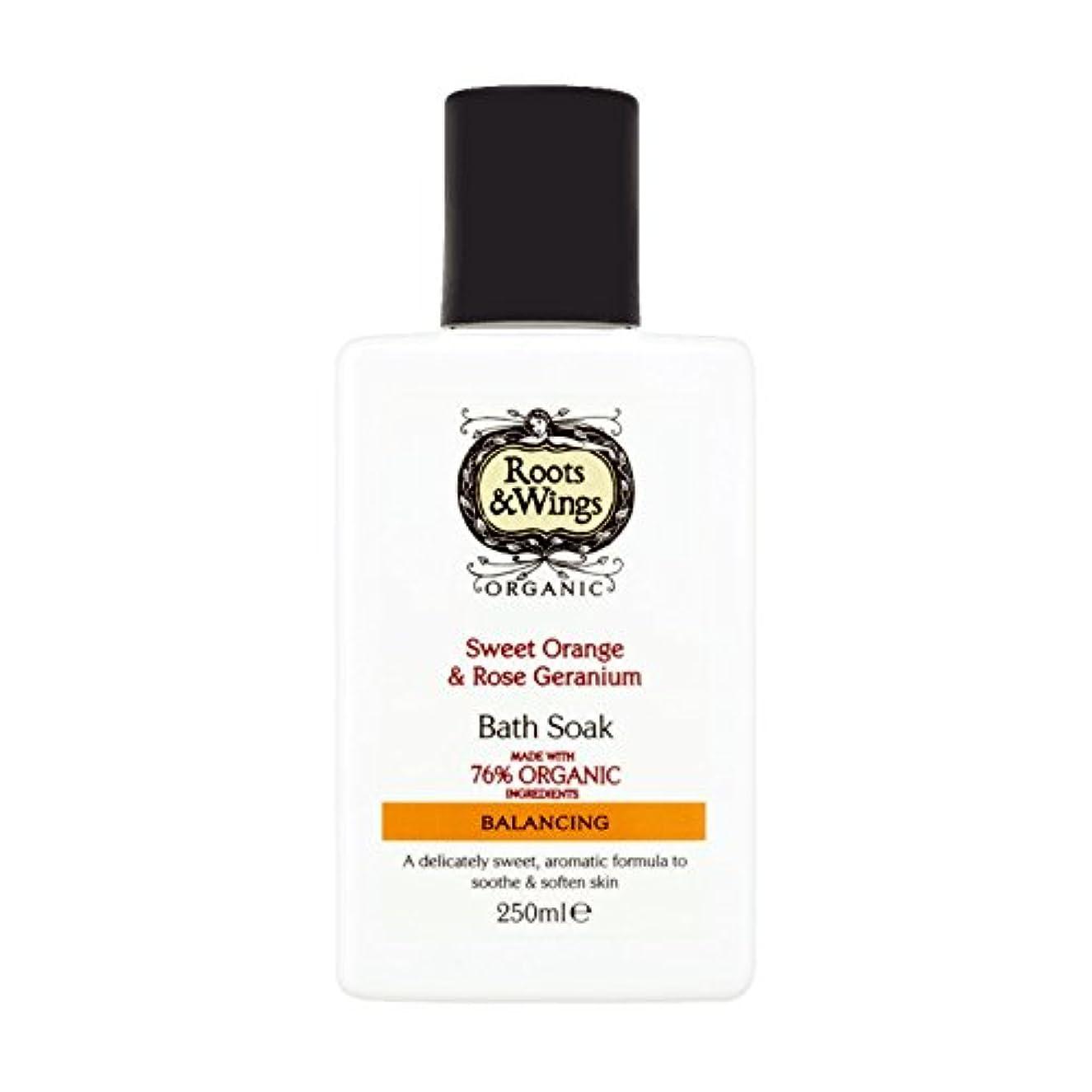 市長旅に応じてRoots & Wings Bath Soak Sweet Orange & Rose Geranium 250ml (Pack of 2) - ルーツ&翼バス甘いオレンジを浸し&ゼラニウム250ミリリットルをバラ (x2) [並行輸入品]
