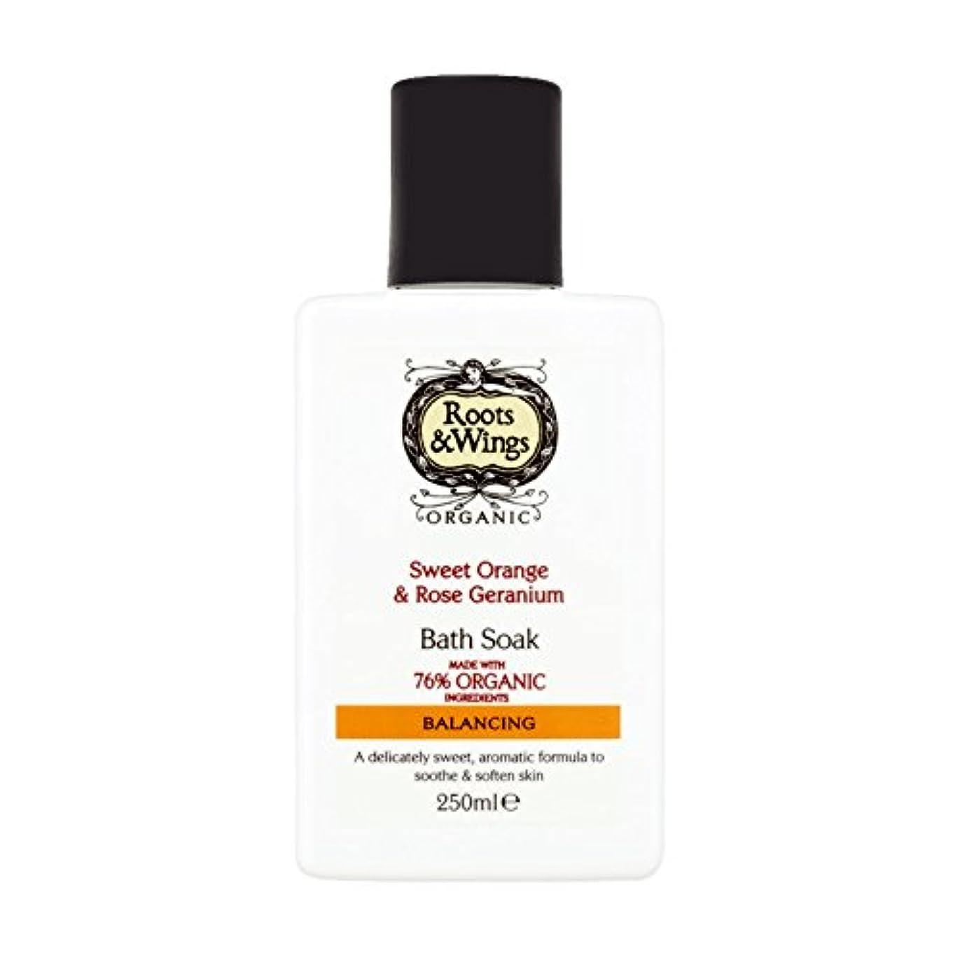 謝罪スピーチフレアRoots & Wings Bath Soak Sweet Orange & Rose Geranium 250ml (Pack of 2) - ルーツ&翼バス甘いオレンジを浸し&ゼラニウム250ミリリットルをバラ (x2) [並行輸入品]