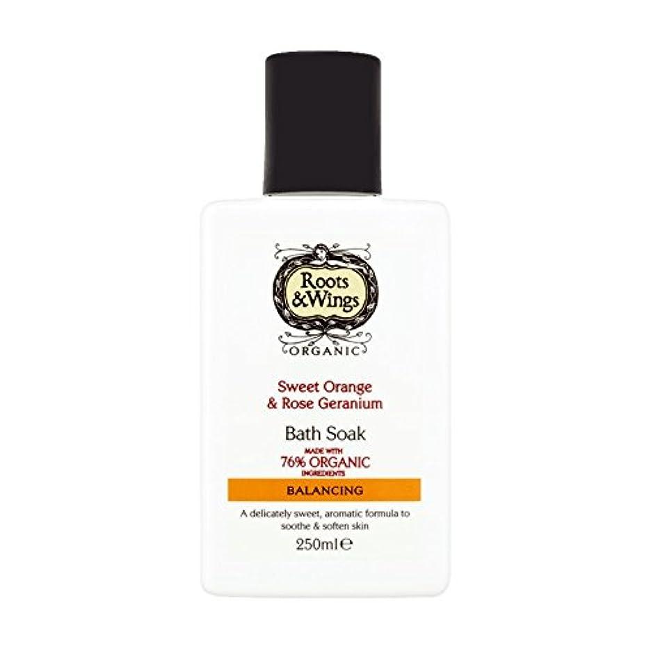 浴到着定常Roots & Wings Bath Soak Sweet Orange & Rose Geranium 250ml (Pack of 2) - ルーツ&翼バス甘いオレンジを浸し&ゼラニウム250ミリリットルをバラ (x2) [並行輸入品]