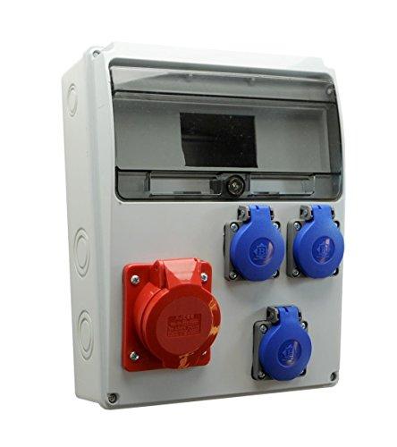 Baustromverteiler/Wandverteiler 3 x Schuko 230V/16A & 1 x CEE 16A/400V verdrahtet o. Sicherung