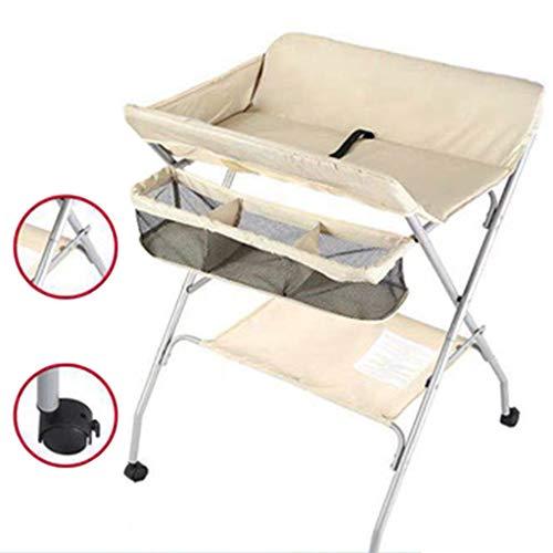 Table à langer pour bébé se pliant, Station de bain nouveau-né pour petit espace, Commode portable Bambin 0-3 ans, avec sangles de sécurité et roues verrouillables