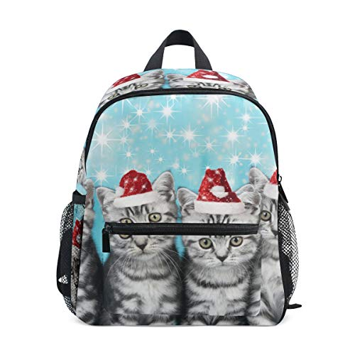 Sac à dos d'écolier tendance pour enfants - Motif chats mignons avec bonnet de Noël rouge - De haute qualité - Décontracté - Sac à dos en toile légère pour enfants de 3 à 8 ans - 25,4 x 10,2 x 30,5 cm