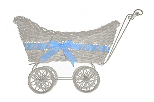 LIVIVO  Large Baby Pram Hamper Wicker Basket with Handles, Wheels and Colourful Satin Ribbon Bow - Perfect for Baby Showers or Newborn Baby Gifts (BLUE)