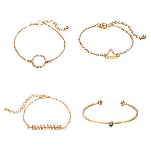 4Pcs Bracelets for Womens Fish Bone Bracelets Bangle Personalised Friendship Bracelets Romantic Valentine's Day Present Birthday Christmas Graduation Gifts(One Size,Gold)