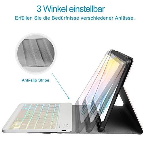IVSO Tastatur Kompatibel mit Samsung Galaxy Tab S6 Lite, mit Panzerglas, [QWERTZ Deutsches], Abnehmbar Beleuchtete Tastatur Hülle Kompatibel mit Samsung Galaxy Tab S6 Lite 10.4 Zoll, Roségold