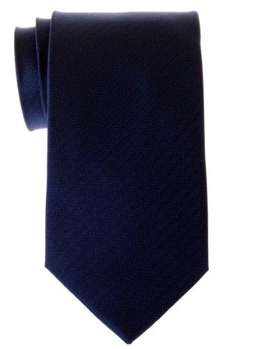 Retreez Cravate micro tissée à rayures en épi pour homme - Bleu marin