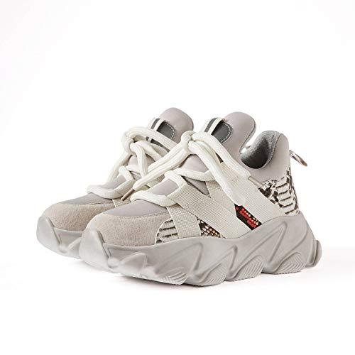 N-B Zapatos de Mujer Plataforma de Piel de Vaca Zapatillas Deportivas