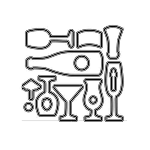Benoon Troqueles de corte de metal en relieve, plantilla de corte, para copas de vidrio, botellas de vino, troqueles, sellos de bricolaje, álbumes de recortes, decoración de tarjetas de papel 2725D