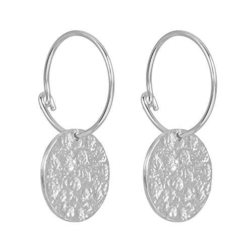 Pernille Corydon Creolen Silber Damen mit Anhänger - Ohrringe New Moon Earrings mit Plättchen Gehämmert Silber 925 - E415s