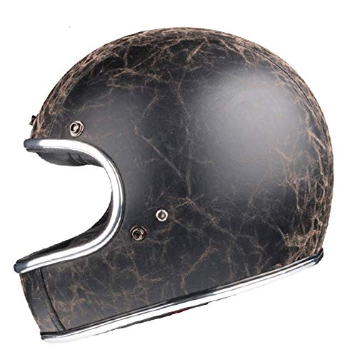 Jet Vintage Casco Moto,Cuero Lentes antivaho Windproof Sandproof Dot Certificado para Adultos Mujer y Hombre Retro Scooter Motocicleta Helmet Chopper Cruiser 56-62cm
