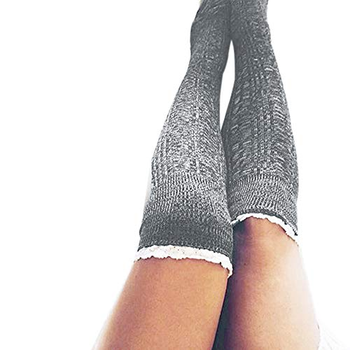 FIRSS Frauen Spitze Blume Kniestrümpfe | Doppelfarbig Socken | Strick Sportsocken | Knitting Hohesocken | Casual Lose Elastisch Strümpfe