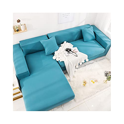 Daesar Fundas para Sofás Elasticas,Fundas Cubre Sofas 4 Plazas,Color Sólido Funda Protecto para Sofa Lago Azul,4 Plazas(235-300CM)