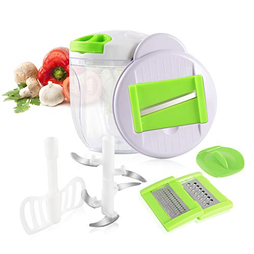 Adsvtech Manuelle Lebensmittel Chopper 5 in 1 Quick Hand ziehen Mixer und Fleischwolf Mixer Fleisch Gemüse Obst Nüsse Zwiebeln Kräuter Salat Knoblauch für Salsa Krautsalat (900ML)