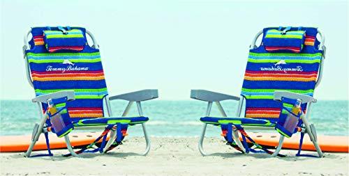 TECNOVOZ Pack 2 Sillas Playa PLAGABLE Asas Tipo Mochila Tommy Bahamas 2000998 Verde/Rayas