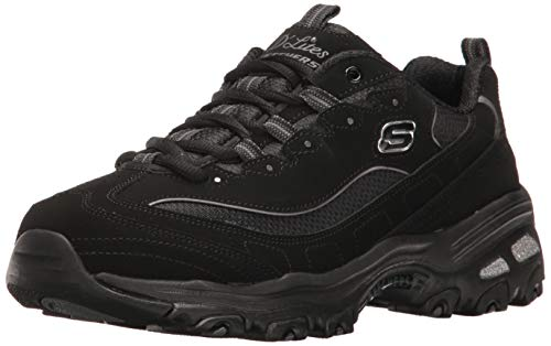 Skechers Sport Women's D'Lites Memory Foam Lace-up Sneaker,Black/Pink,9.5 XW US