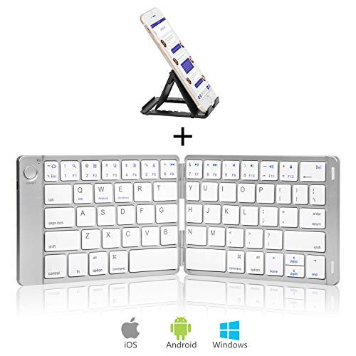 Sounwill Foldable Keyboard, Wireless Portable Keyboard with Stand...