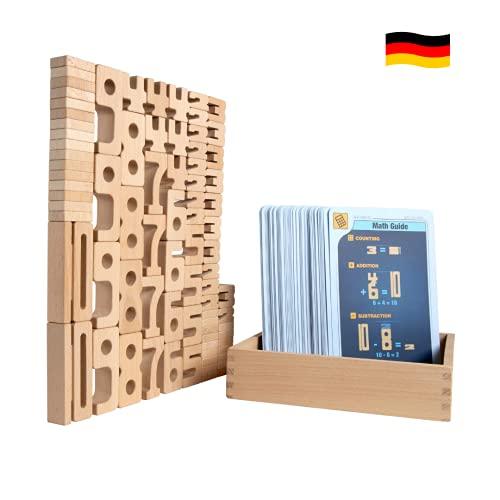 SumBlox Mini (Basic Set) - 80 Mini Holz Bausteine aus massiver Buche - Premium Zahlenbausteine Montessori Spielzeug - Mit 80 Aktivitätskarten zur Förderung des spielerischen Lernens.