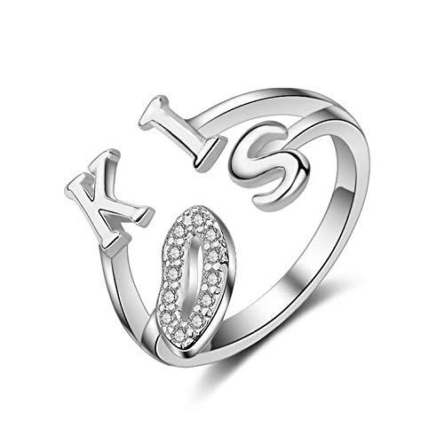 Moda romántico beso carta brillante cristal femenino 925 plata esterlina señoras dedo anillos joyería regalo