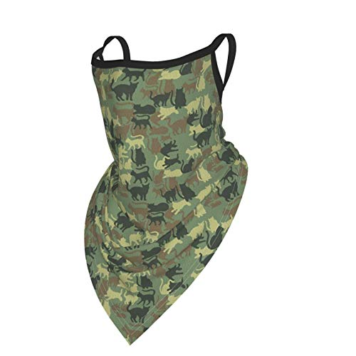 Face Scarf with Ear Loops, Camouglage Animal Camo Cat Neck Gaiter Face Bandana Headwear for Dust Wind UV Protection