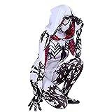 GJZhuan Gwen Spiderman Cosplay Disfraces Adultos niños Body Mujer Elegante Vestido Apretado Ropa Chicas Fiesta Rendimiento Accesorios Mono Medias,White-Kid/M(125~135CM)