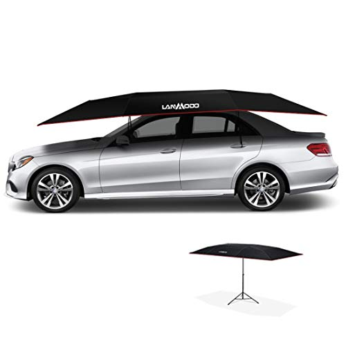 LANMODO Car Tent,Portable Automatic Car Umbrella Remote Control,Automobile Protection Automatic Car Cover,Can Be Beach/Fishing Umbrella,Sunscreen,Anti-UV,Snow Proof(3.5M Auto with Stand,Black)