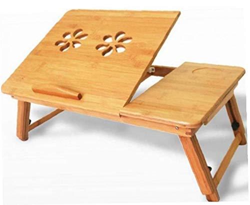 LAANCOO portátil Ajustable de Escritorio de bambú, Mesa de Ordenador portátil para la Bandeja de la Cama Plegable Desayuno Bandeja para Servir con usos múltiples al Aire Libre de Interior Drawerfor