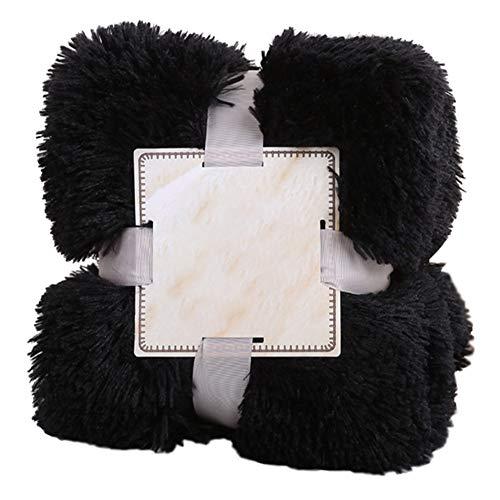 GODGETS Plaid en Microfibre Fausse Fourrure à Longs Poils, Polyester, Léger, Doux et Chaud Noir 160×200 CM