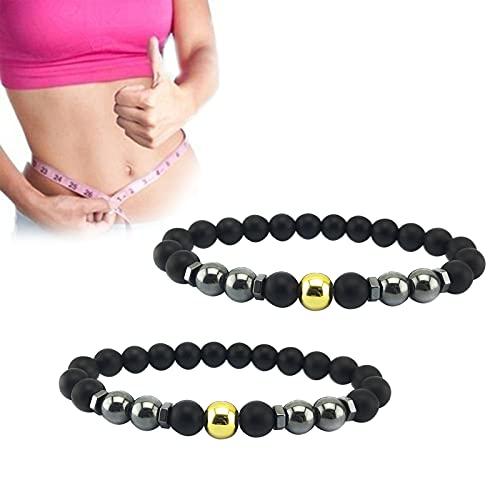 Anti-Swelling Black Obsidian Anklet, 2Pcs Adjustable Weight Loss Magnet Anklet, Feng Shui Obsidian Beaded Bracelet, Natural Bead Gemstone Anklet for Foot Pain Relief (Gold)