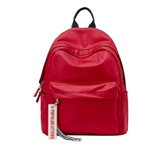 WGGTX Bolsa para la Escuela Red Junior High School Student Student Bag Versión Coreana de la Mochila de Viaje Simple de Doble Hombro de la Mochila de Viaje Mochila de Nylon para Estudiantes y niños