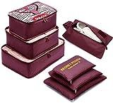 7 Set Sistema di Cubo di Viaggio - 3 Cubi di Imballaggio + 3 Sacchetti Borsa+ 1 Borsa port...