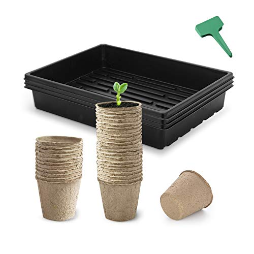 CEED4U Seed Starter Kit, 2.4 Inches Peat Pots, 15x11 Inches Growing Trays, 15 Packs Plant Labels, Plant Cultivation Set for Gardeners, Classrooms, Greenhouse, DIY Projects