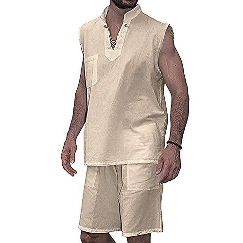 BUZHIDAO Sommer Schlafanzug Kurz Baumwolle Herren Kurz Pyjama Nachtwäsche Set Herren Einfarbige Weste Shorts Home Set (Khaki, XL)