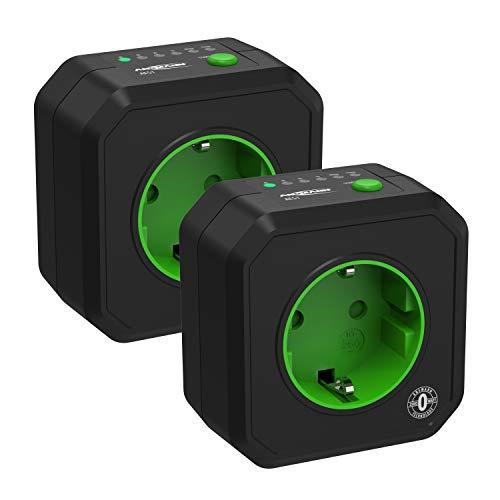 ANSMANN Timer Steckdose AES1 / Energiesparende Steckdose mit Zeitschaltuhr für Haushaltsgeräte: Heizlüfter, Kaffeemaschine, Waschmaschine uvm. / Betriebszeit per Tastenfunktion einstellbar 2er Pack