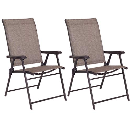 2 Pcs Outdoor Patio Chair Space Saving Stackable Portable Steel Frame Lawn Poolside Backyard Folding Chairs with Armrest & Footrest Commercial Party Home Use Modern s - Tangkula Sling chair