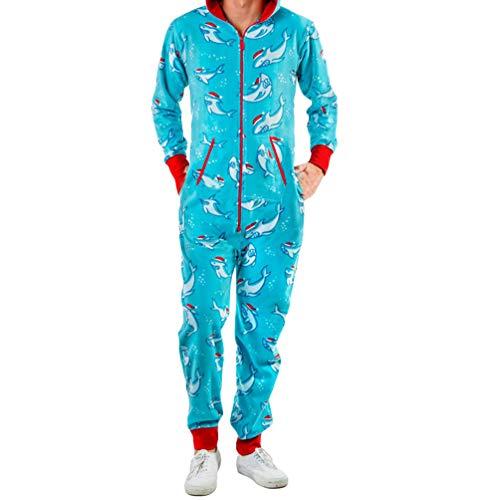 Baijiaye Unisex Adultos Onesie Pijamas Cosplay Pijama de un Pieza Halloween Navidad Carnaval Cosume con Cierre de Cremallera y Capucha Delfín